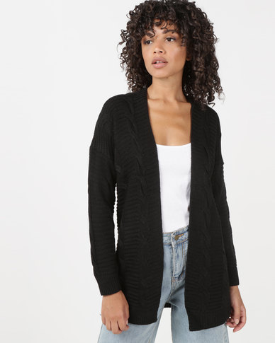 Utopia Cable Knitwear Cardigan Black
