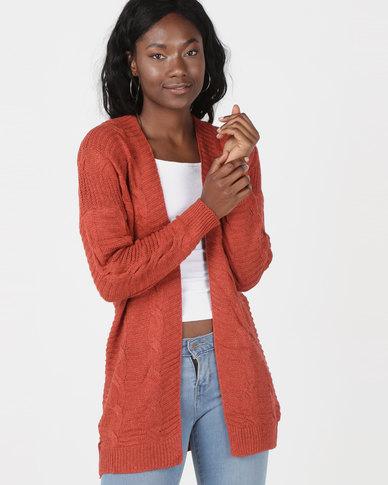 Utopia Cable Knitwear Cardigan Rust