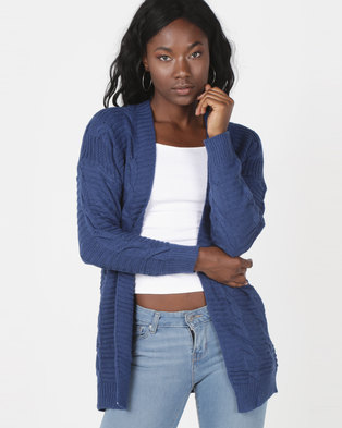 Utopia Cable Knitwear Cardigan Blue