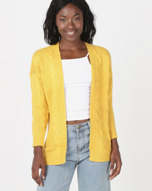 Utopia Cable Knitwear Cardigan Mustard
