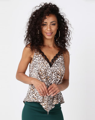 Paige Smith Lace Printed Cami Leopard Print