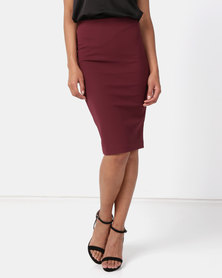 Paige Smith Bodycon Skirt Burgundy
