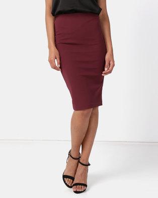 Paige Smith Bodycon Skirt Burgundy