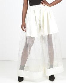 SKIP Monochrome Prime Obsession Flared Organza Pants Cream