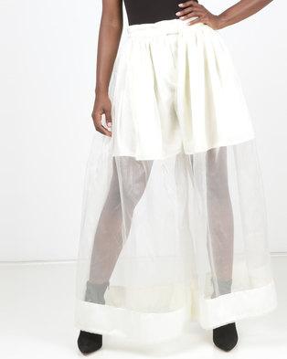 4615c6cb68 SKIP Monochrome Prime Obsession Flared Organza Pants Cream