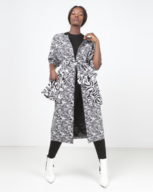 SKIP Monochrome Imprint ZA Belted Coat Black/White