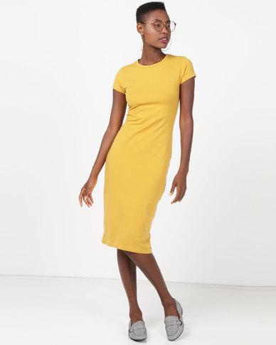 Utopia Basic T-Shirt Dress Mustard