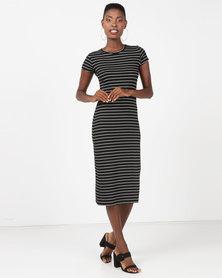 Utopia Basic T-Shirt Dress Black/White Stripe