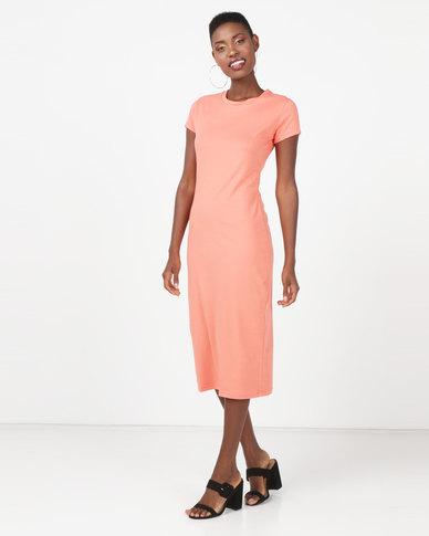 Utopia Basic T-Shirt Dress Coral