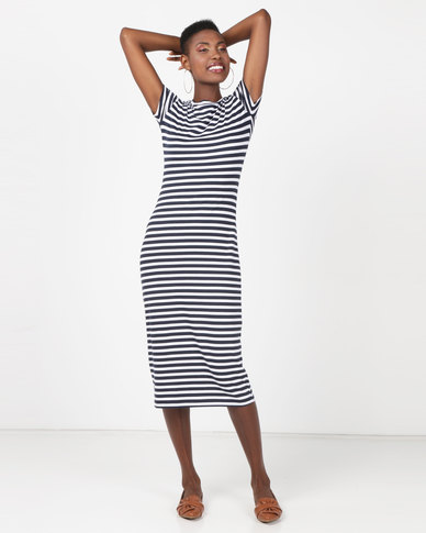 Utopia Basic T-Shirt Dress Navy/White Stripe