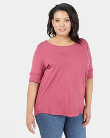 Utopia Ballerina Sleeve Basic Plus Tee Berry Pink
