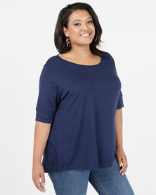 Utopia Ballerina Sleeve Basic Plus Tee Navy