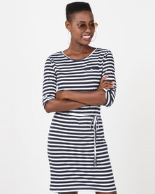 Utopia 3/4 Sleeve Basic T-Shirt Dress Navy/White Stripe