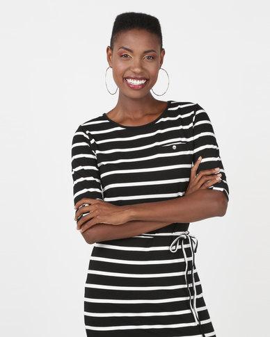 Utopia 3/4 Sleeve Basic T-Shirt Dress Black/White Stripe