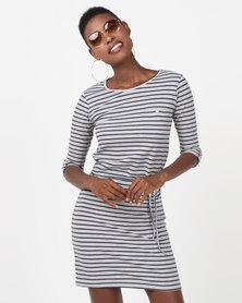 Utopia 3/4 Sleeve Basic T-Shirt Dress Grey/Navy Stripe
