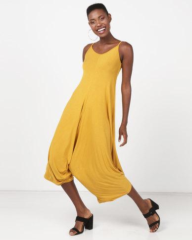 Utopia Knit Harem Jumpsuit Mustard