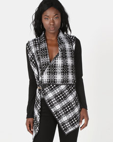 Revenge Checked Knitted Crossover Jacket Black