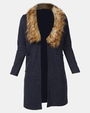 Revenge Faux Fur Collar Coat Blue
