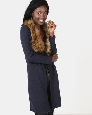 Revenge Faux Fur Collar Coat Blue