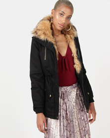 Revenge Faux Fur Parka Jacket Black