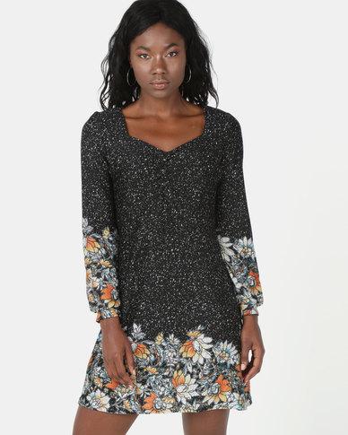 Revenge Sweetheart Neck Printed Dress Multi