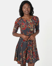 Revenge Skater Printed Dress Multi