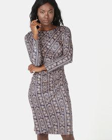Revenge Bodycon Printed Dress Multi