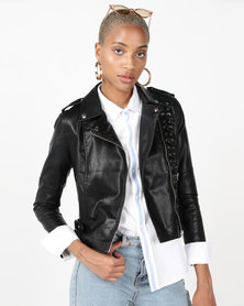 Revenge Lace Detail Biker Jacket Black