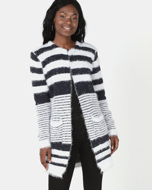 Revenge Striped Fluffy Cardigan Multi