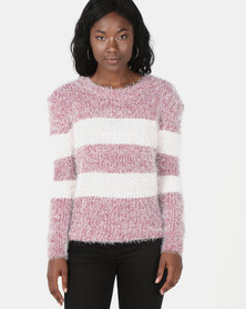 Revenge Striped Fluffy Jersey Pink