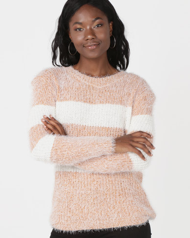 Revenge Striped Fluffy Jersey Peach