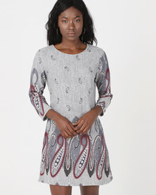 Revenge Printed Knitted Dress Grey
