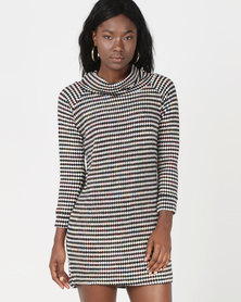 Revenge Striped Cowl Neck Dress Multi