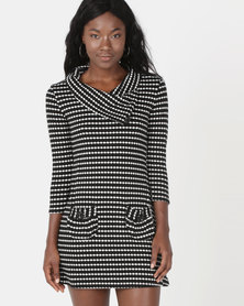 Revenge Striped Neck Detail Dress Multi