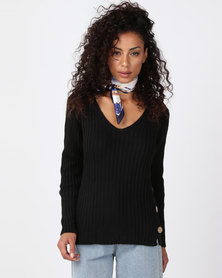 Revenge Side Button Knitted Top Black