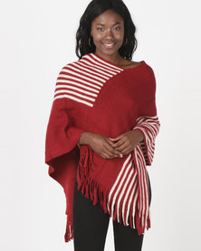 Revenge Striped Poncho With Fringing Red Multi