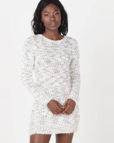 Revenge Long Length Knitted Top Beige