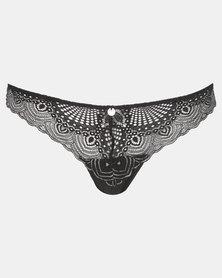 Wonderbra Lurex Thong Panty  Black & Silver