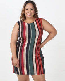 Revenge Striped Shift Dress Multi