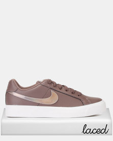 Nike  Womens Court Royale AC Sneakers Plum Eclipse/Pumice-White