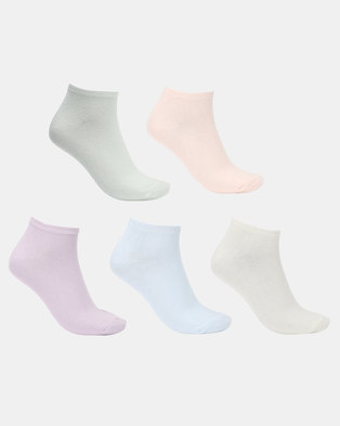 New Look 5 Pack Assorted Trainer Socks Multi