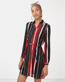 Revenge Striped Shirt Dress Multi