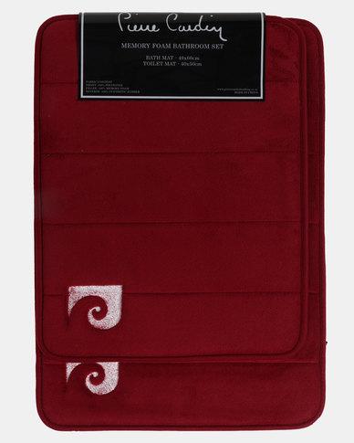 Pierre Cardin Memory Foam 2 Piece Bath Set Red
