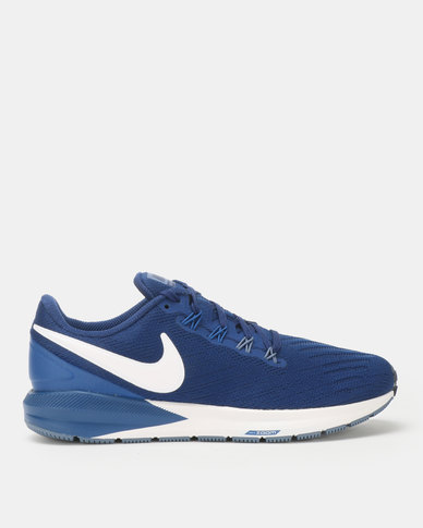 7c63c7c9c3b9 Nike Performance Mens Air Zoom Structure 22 Running Shoes Blue White ...