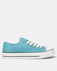 Tomy Takkies Ladies Blue Washed Tomy Canvas Lace Ups Blue