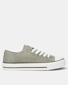 Tomy Takkies Ladies Grey Washed Tomy Canvas Lace Ups Grey