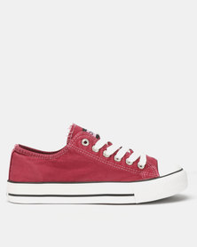Tomy Takkies Ladies Burgundy Washed Tomy Canvas Lace Ups Burgundy
