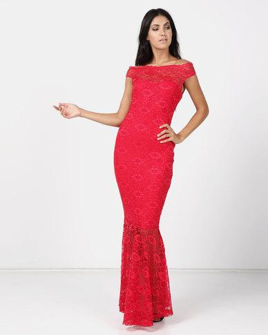 Princess Lola Boutique Vertigo Lace Off Shoulder Mermaid Gown - Red