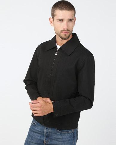 Utopia Cotton Twill Harrington Jacket Black