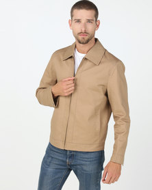 Utopia Cotton Twill Harrington Jacket Camel